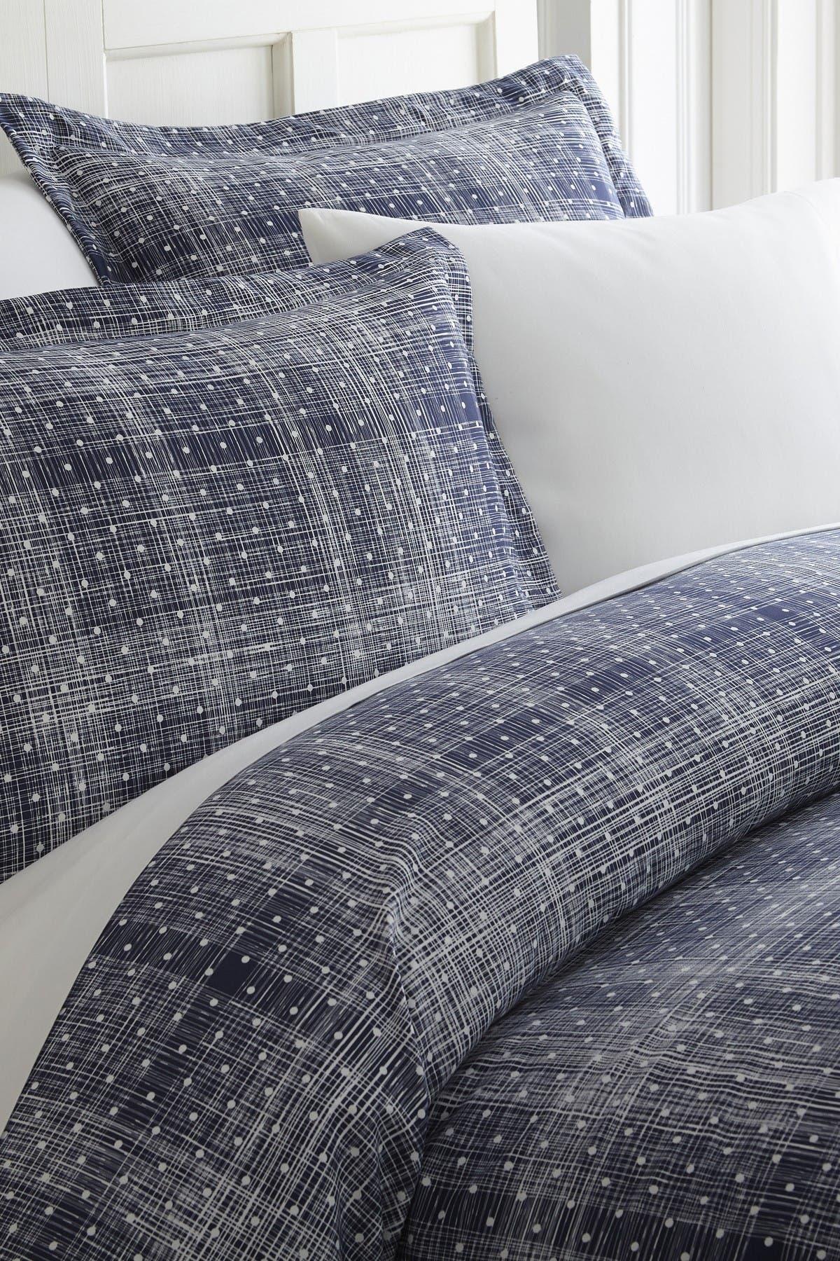 Image of IENJOY HOME Home Spun Premium Ultra Soft Polka Dot Pattern 3-Piece Duvet Cover Queen Set - Navy