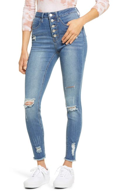 Image of PTCL Ripped High Waist Button Fly Skinny Jeans