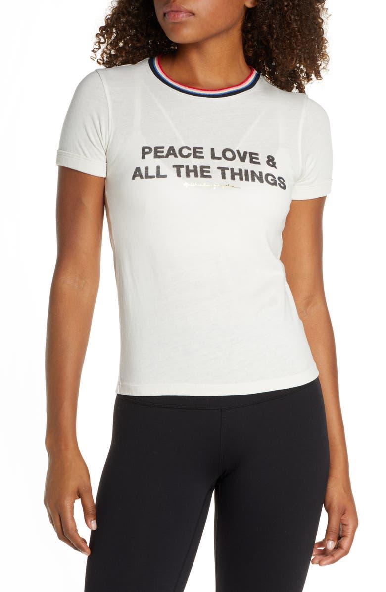 SPIRITUAL GANGSTER Peace Slim Gym Tee, Main, color, STONE