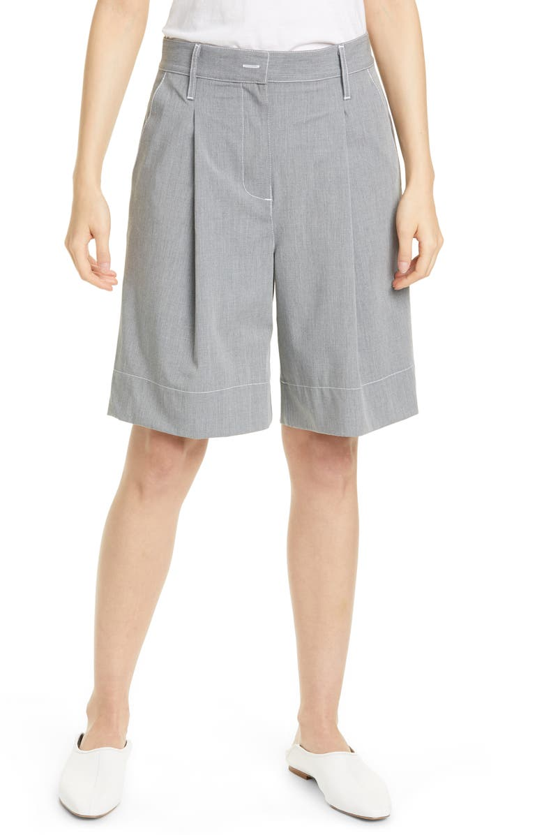 STAUD Shiloh Pleated Shorts, Main, color, STONE