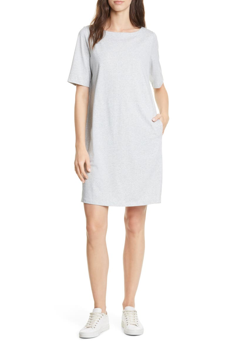 EILEEN FISHER Organic Cotton Blend Shift Dress, Main, color, PEARL