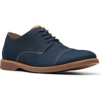 Clarks Atticus Cap Toe Oxford- Blue
