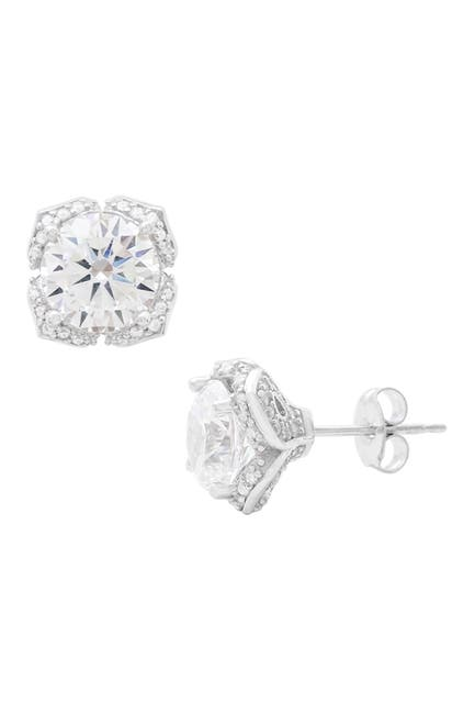 Image of Savvy Cie Platinum Plated Sterling Silver CZ Bold Stud Earrings