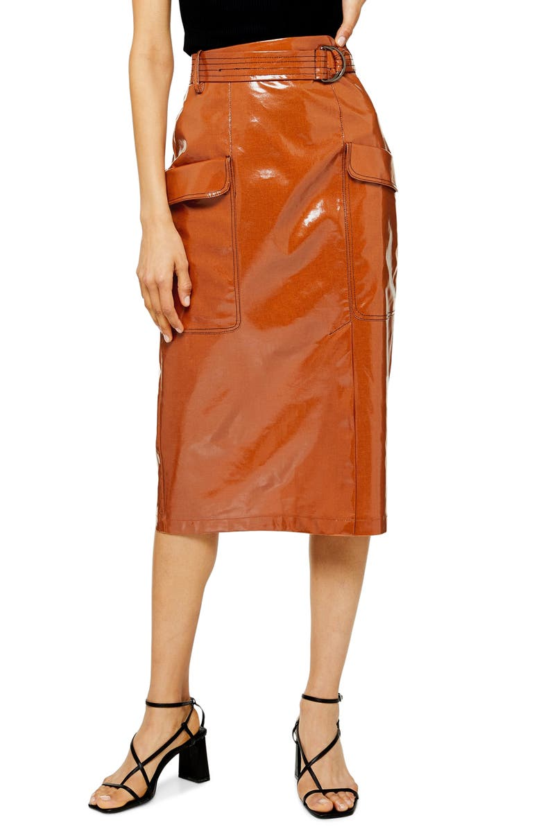 TOPSHOP Belted Vinyl Midi Skirt, Main, color, TAN
