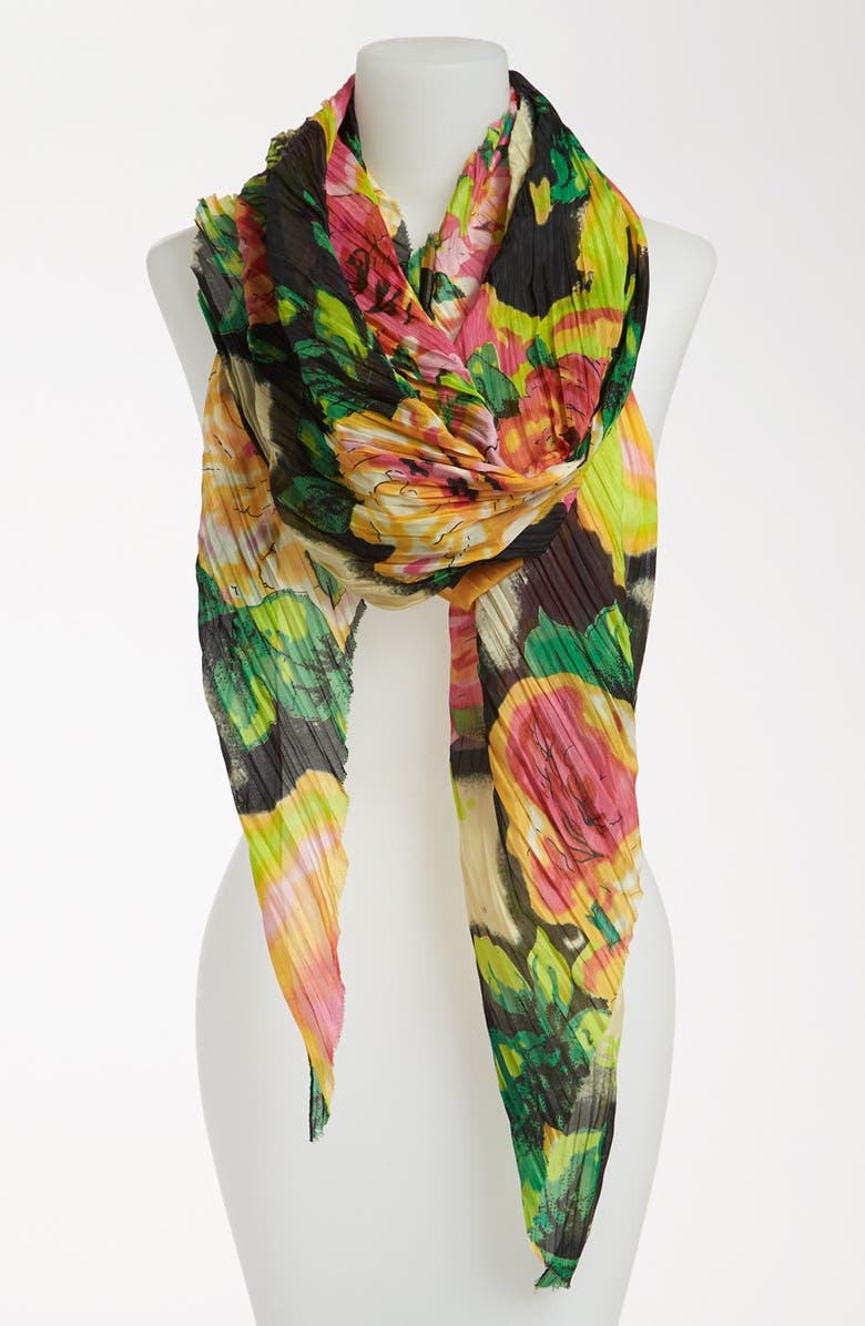 BETSEY JOHNSON 'Gypsy Rose' Pleated Scarf, Main, color, 001