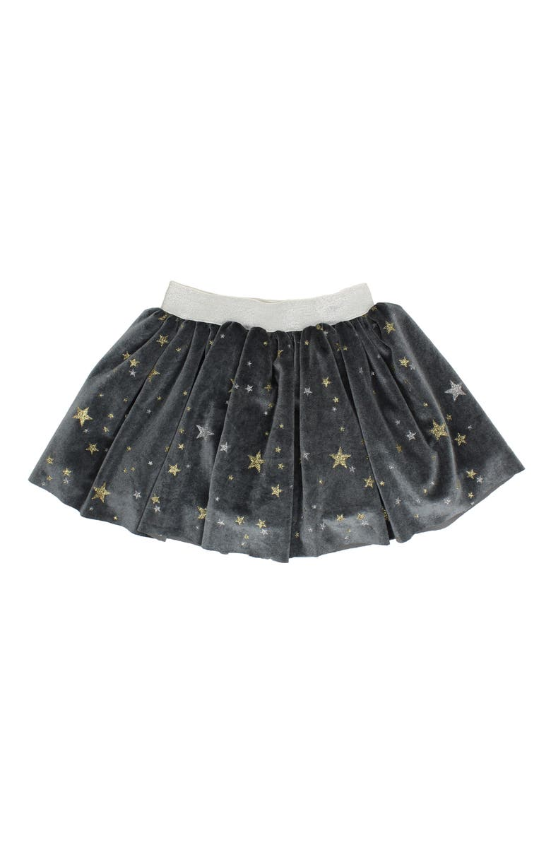 POPATU Metallic Star Velvet Skirt, Main, color, BLACK