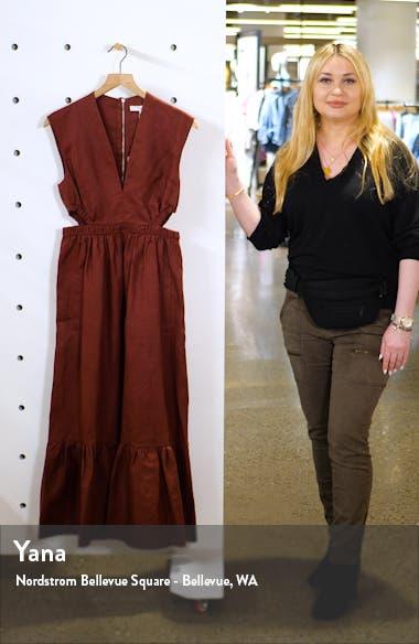 Cutout Waist Linen Midi Dress, sales video thumbnail
