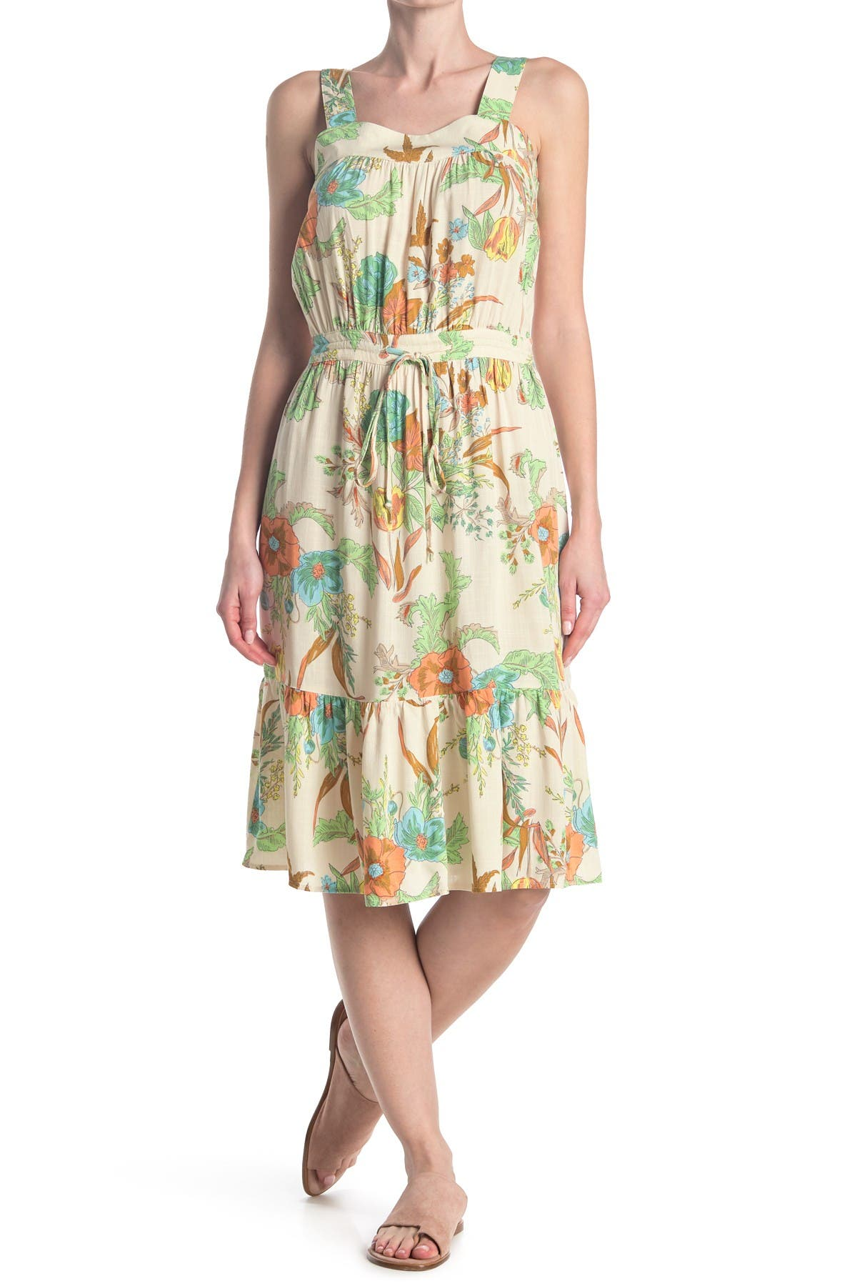 Image of 14TH PLACE Tropical Floral Woven Dress
