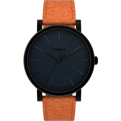 Timex Originals Leather Strap Watch, 42mm