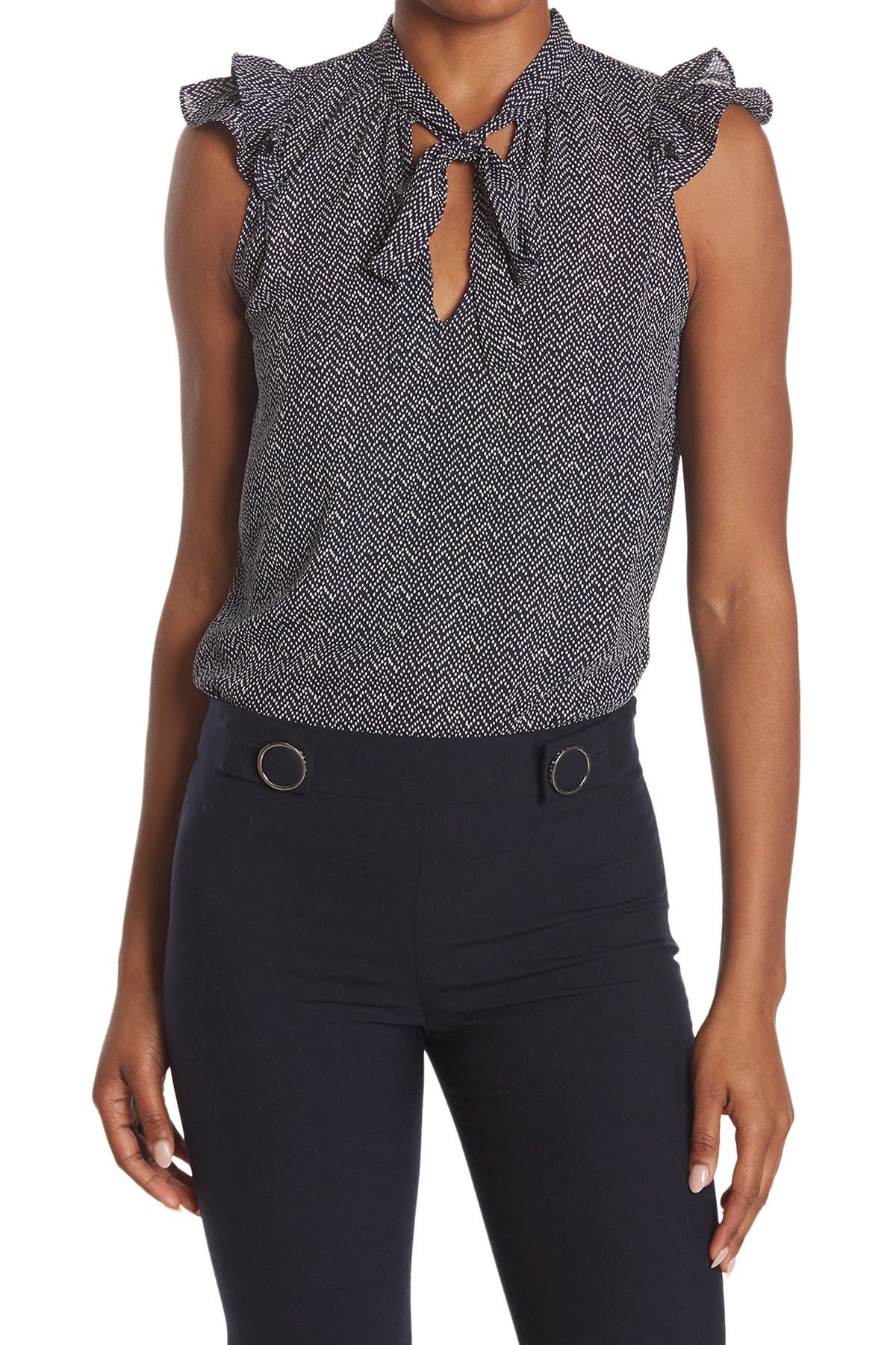 Image of ECLAIR Tie Neck Patterned Blouse