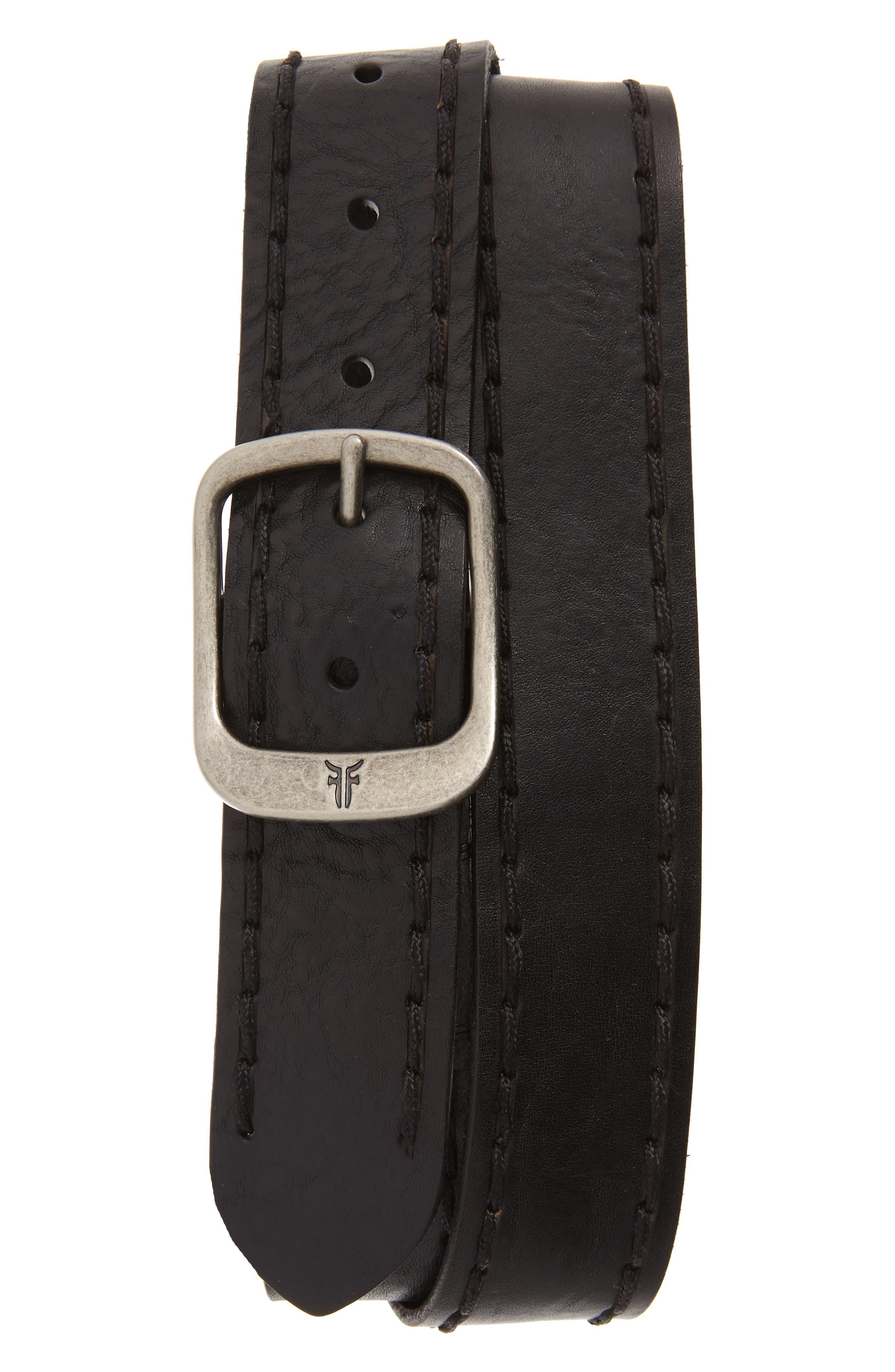 Frye Belt Stitched Edge Leather Belt