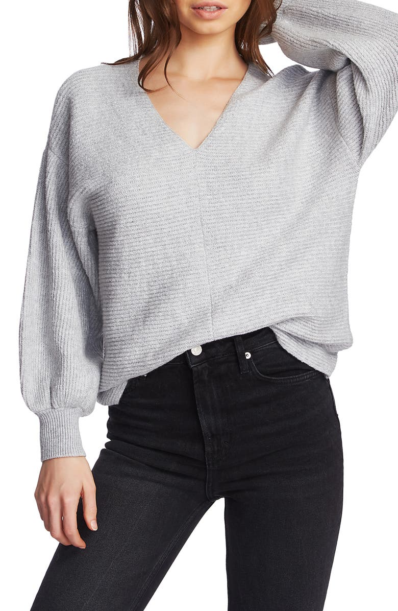 1.STATE Blouson Sleeve V-Neck Sweater, Main, color, SILVER HEATHER
