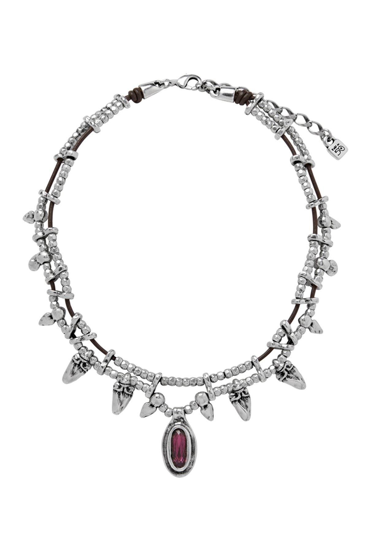 Image of Uno De 50 Stronger Bezel Set Swarovski Element Accented Fringe Collar Necklace