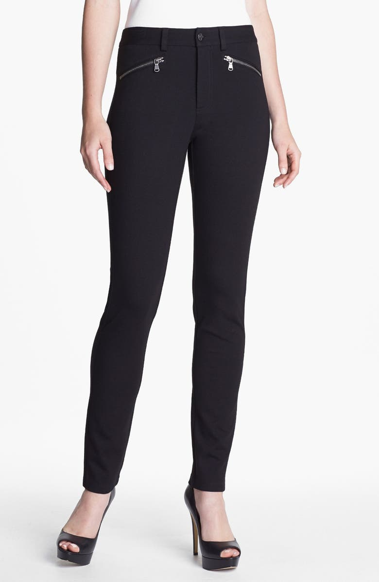 NYDJ Zip Trim Skinny Stretch Ponte Pants, Main, color, 001