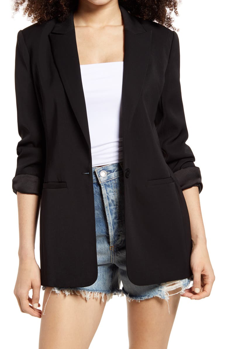 ENDLESS ROSE Tailored Single Button Blazer, Main, color, BLACK