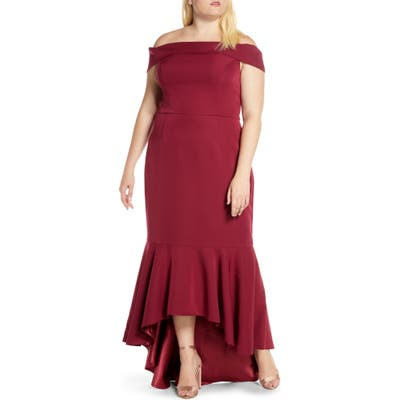 Plus Size Chi Chi London Curve Roz Off The Shoulder High/low Gown, Red