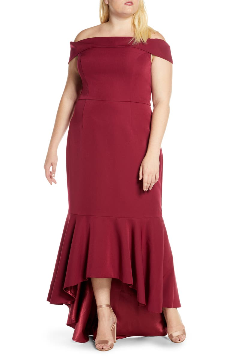 CHI CHI LONDON Curve Roz Off the Shoulder High/Low Gown, Main, color, BURGUNDY