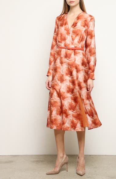 Cenere Belted Long Sleeve Silk Dress, video thumbnail