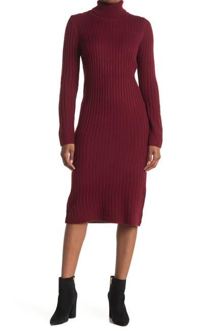 Image of BB Dakota Turtle Neck Midi Knit Sweater Dress