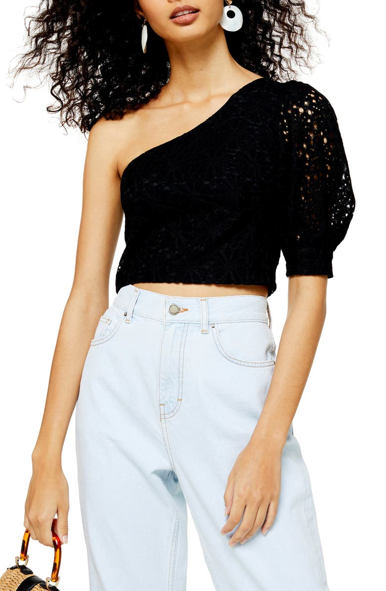 TOPSHOP One-Shoulder Top, Main, color, BLACK