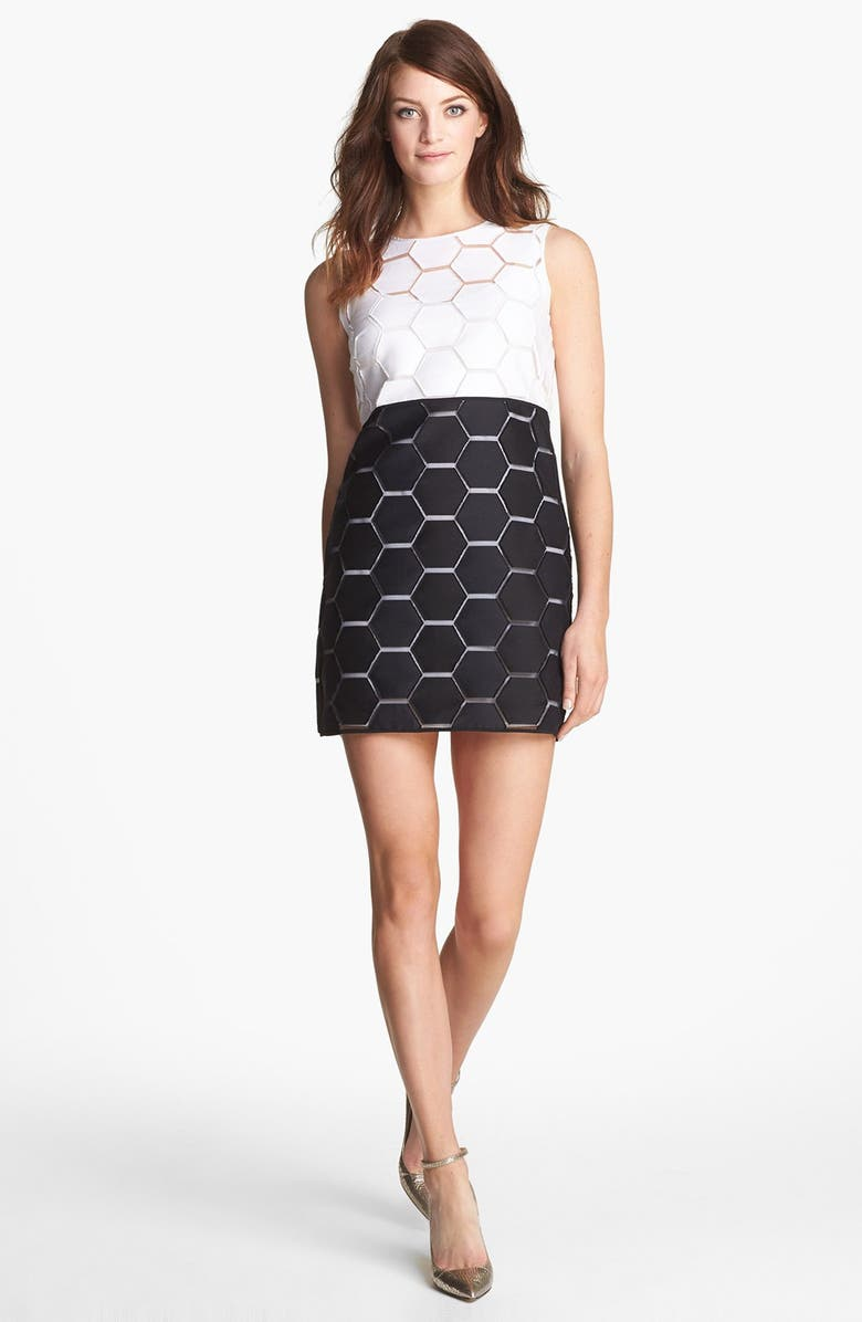 MILLY 'Eloise' Hexagon Pattern Sleeveless Shift Dress, Main, color, 100