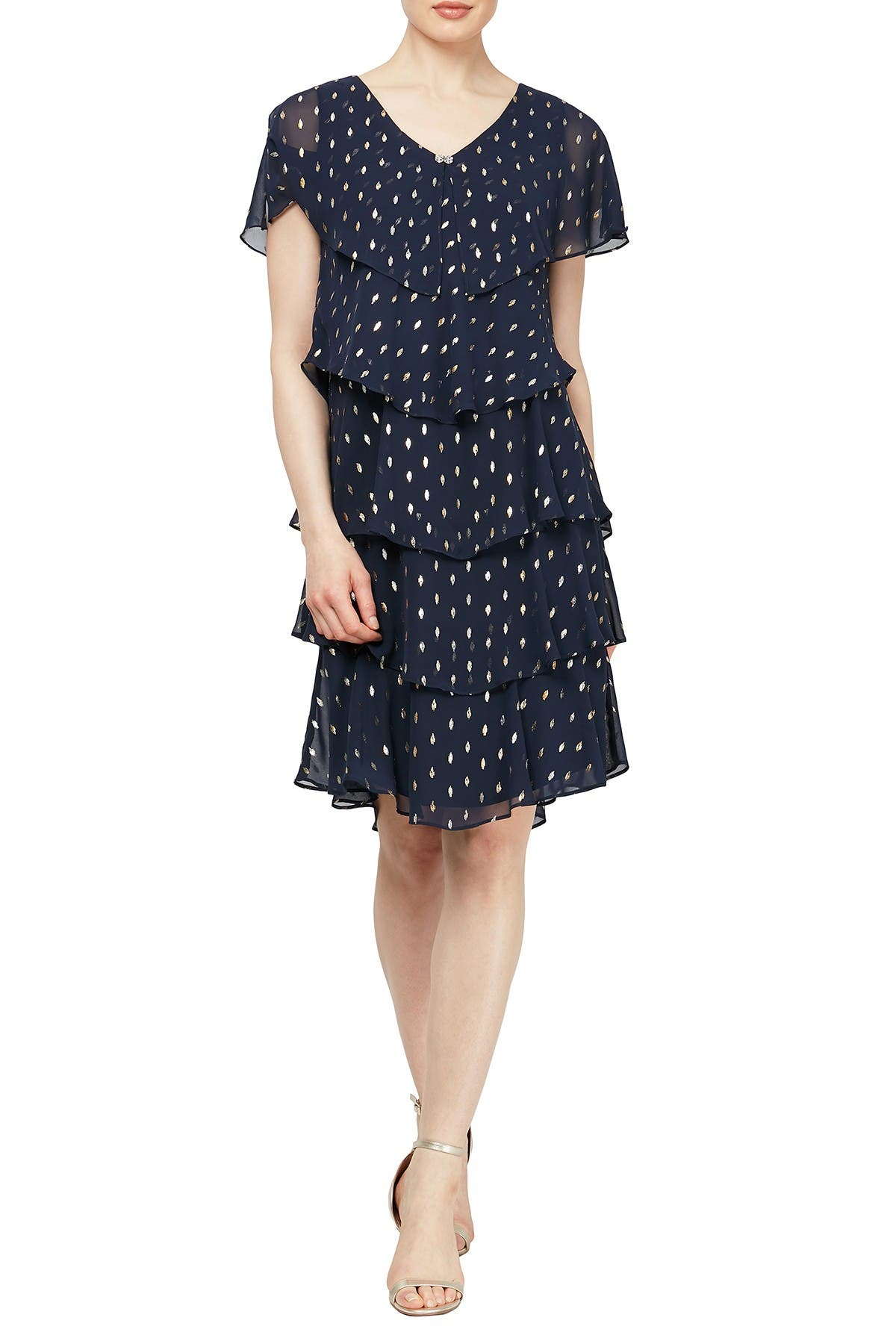 Image of SL Fashions Polka Dot Tiered Georgette Dress