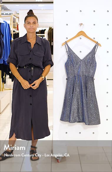 Metallic V-Neck Party Dress, sales video thumbnail