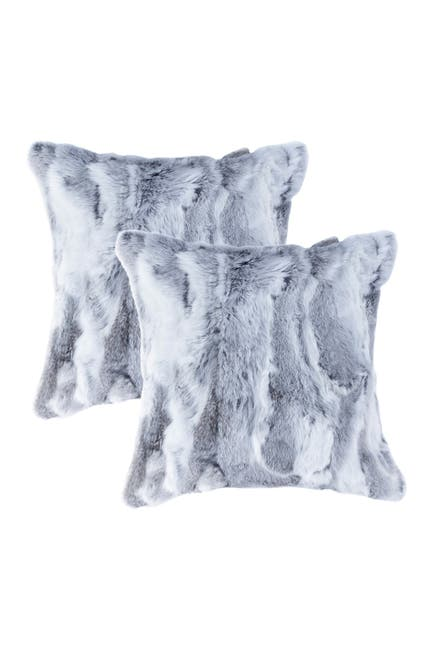 "Image of Natural Genuine Rabbit Fur Pillow - Set of 2 - 18"" x 18"" - Grey"