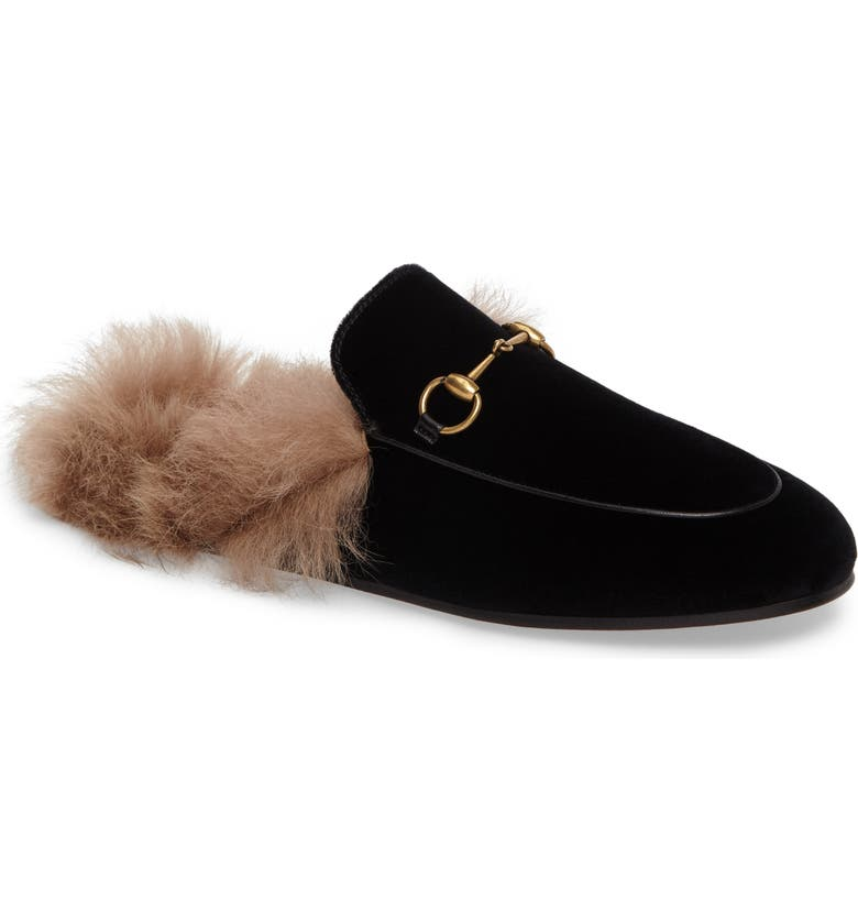 GUCCI Princetown Genuine Shearling Mule Loafer, Main, color, 001