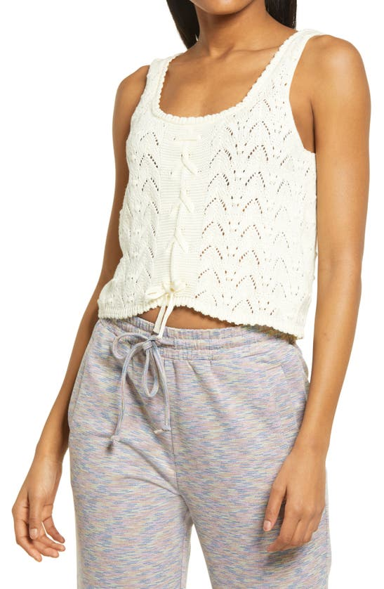 Kendall + Kylie Lace Crop Tank In Vanilla Bean