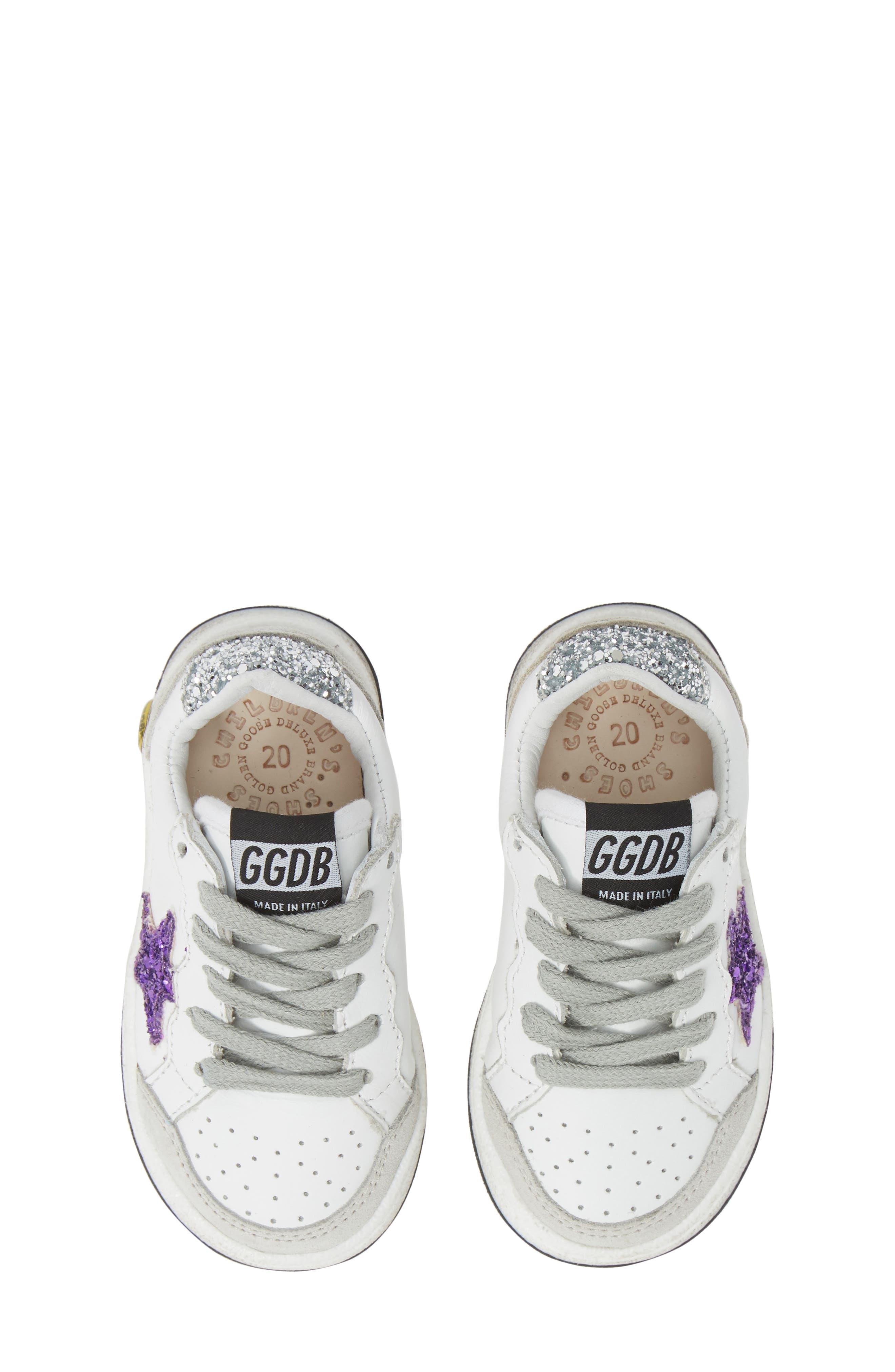 ,                             Ball Star Glitter Sneaker,                             Main thumbnail 1, color,                             WHITE LEATHER/ PURPLE GLITTER