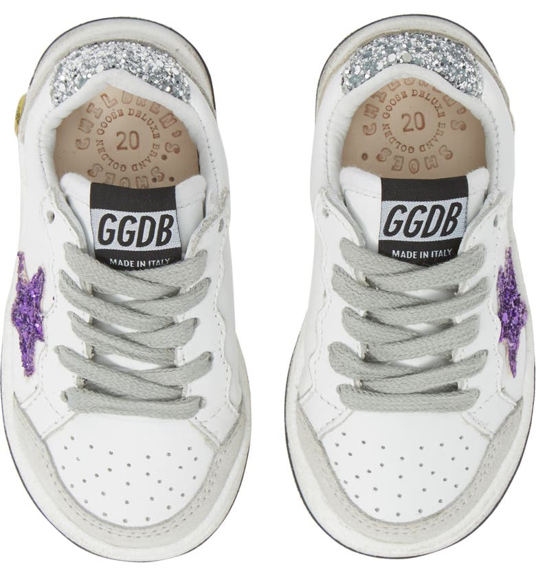 GOLDEN GOOSE Ball Star Glitter Sneaker, Main, color, WHITE LEATHER/ PURPLE GLITTER