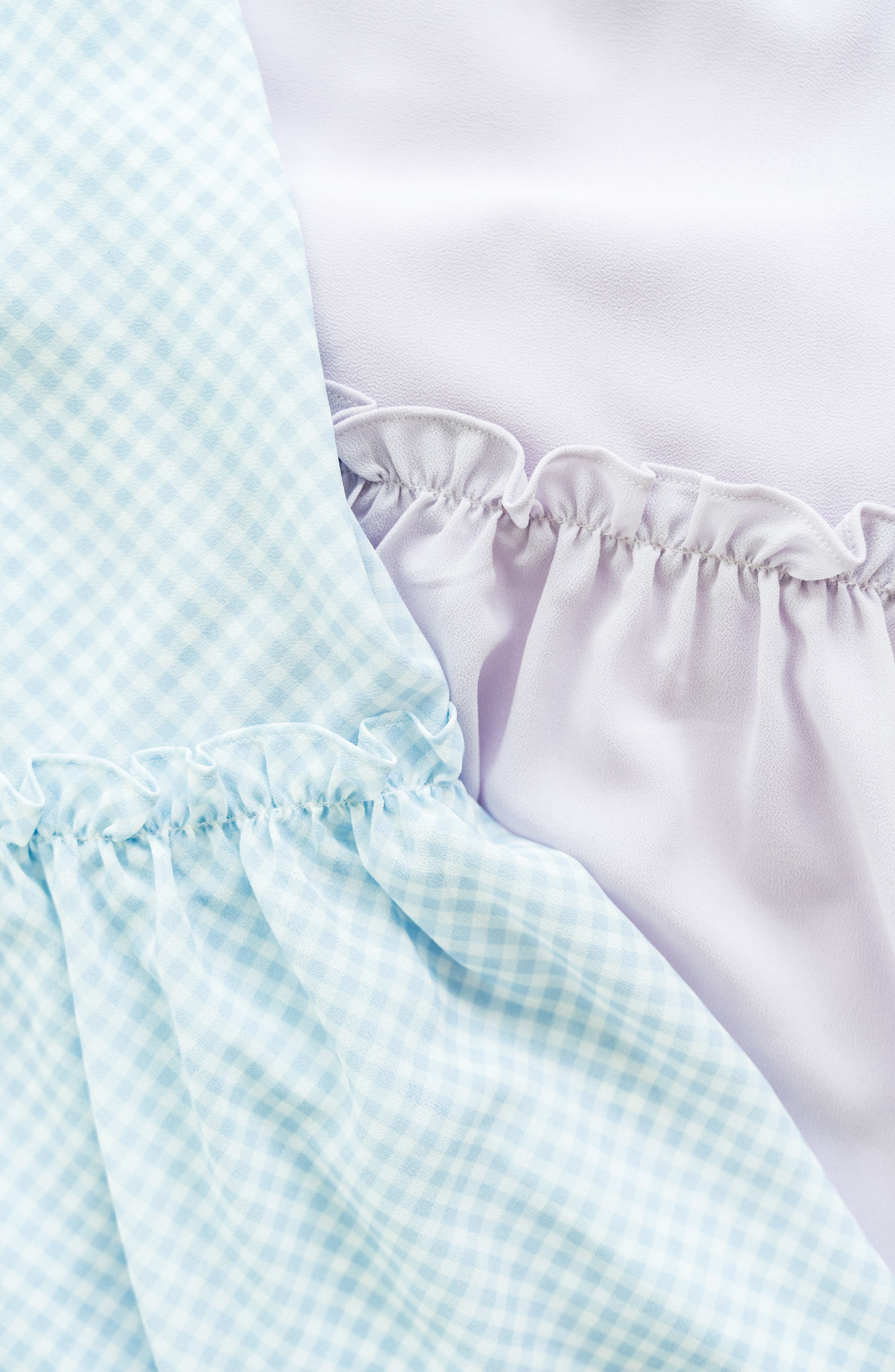 ,                             Gingham Puff Sleeve Dress,                             Alternate thumbnail 10, color,                             BLUE SKYWAY GINGHAM