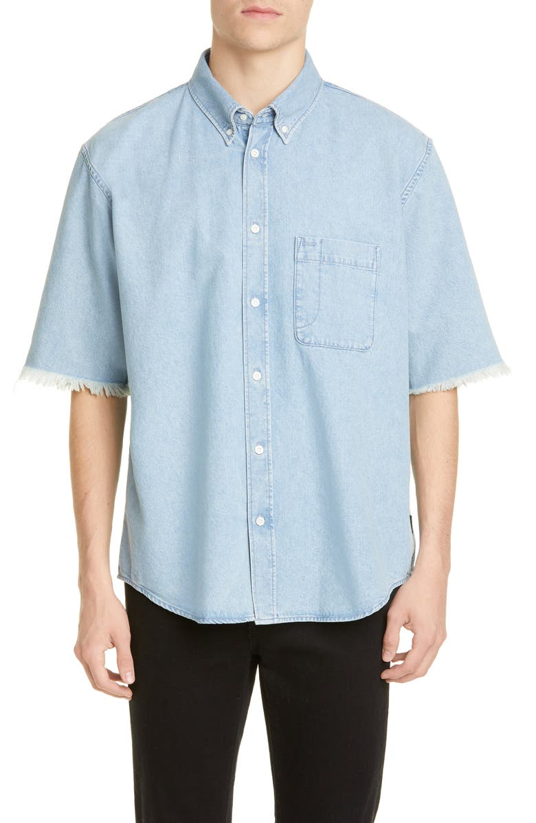 BALENCIAGA Short Sleeve Denim Button-Down Shirt, Main, color, DIRTY CLEAR BLUE
