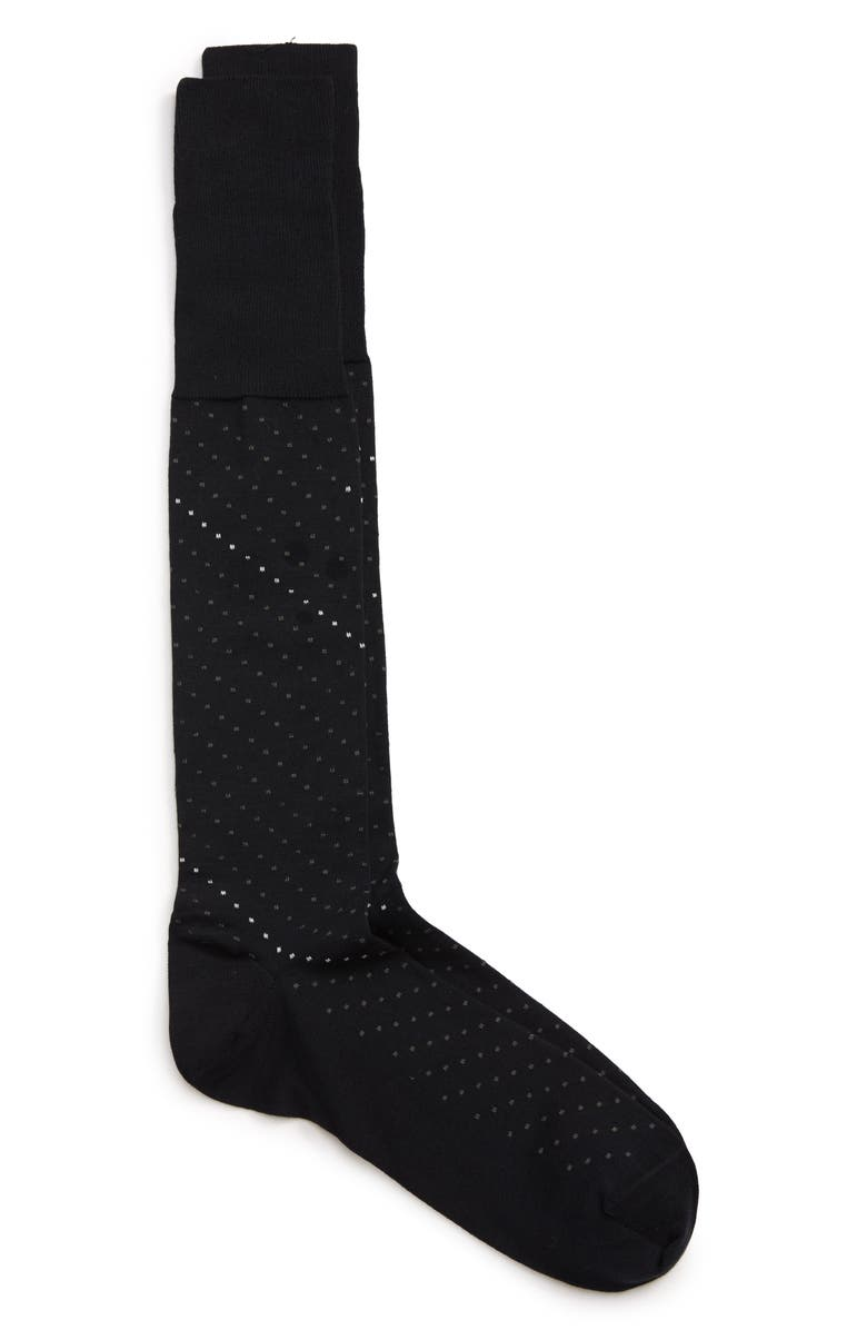 NORDSTROM SIGNATURE Pima Cotton Blend Dot Over the Calf Dress Socks, Main, color, NAVY/ GREY