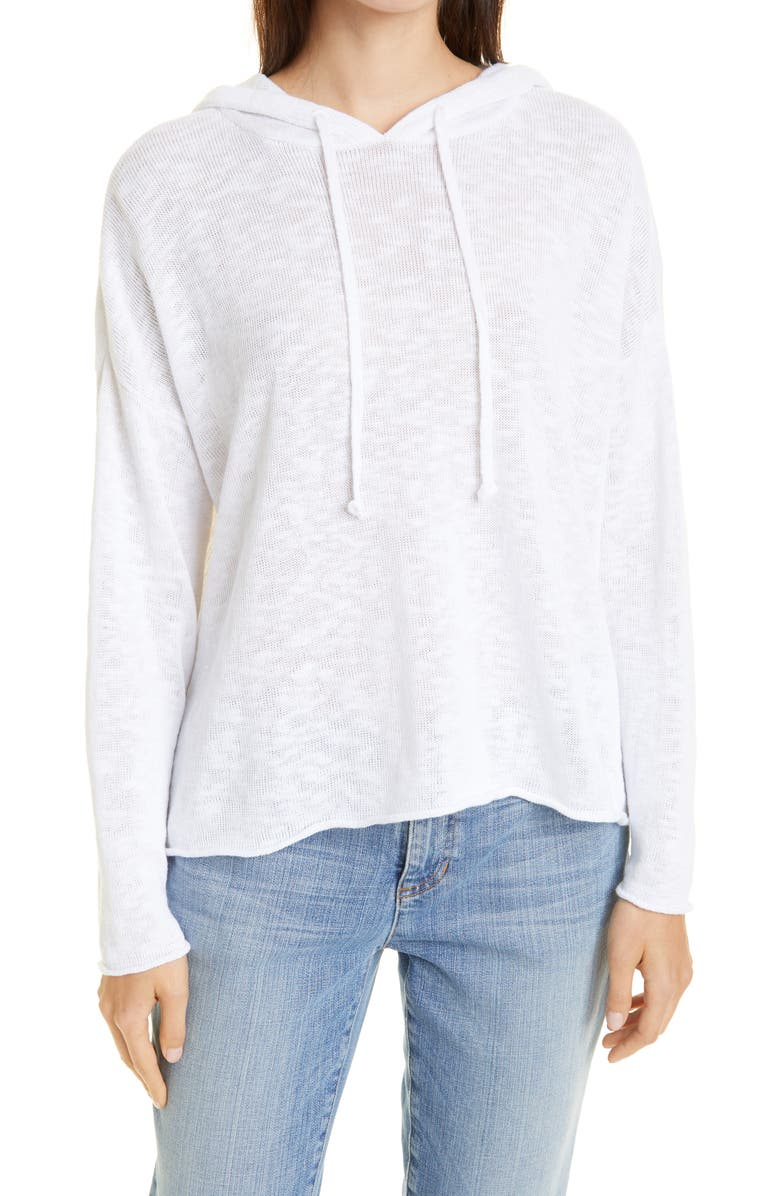 EILEEN FISHER Organic Linen & Cotton Slub Knit Hooded Pullover, Main, color, WHITE