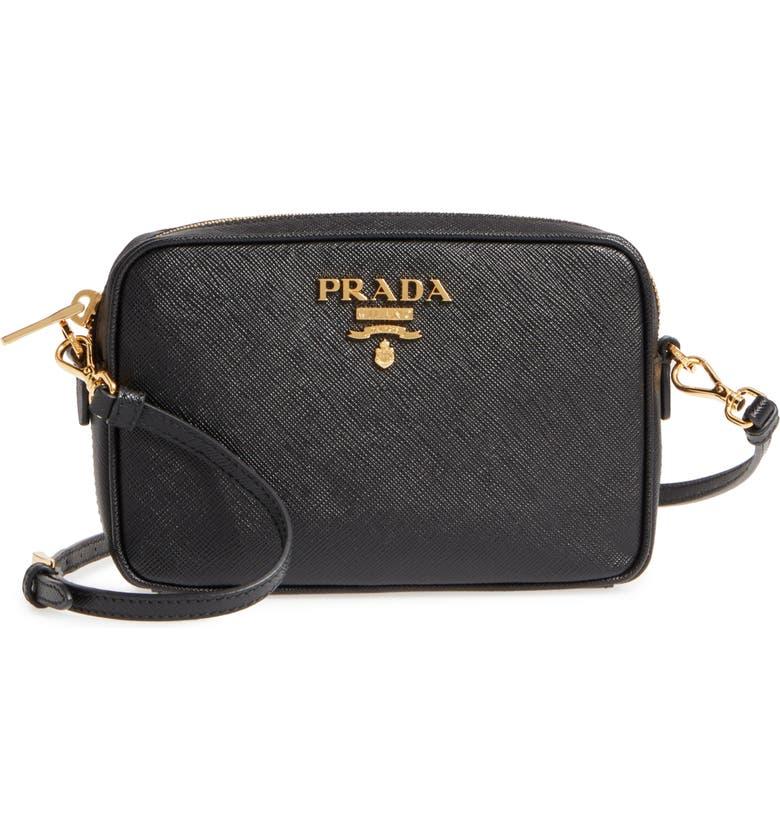 PRADA Saffiano Leather Camera Bag, Main, color, 001