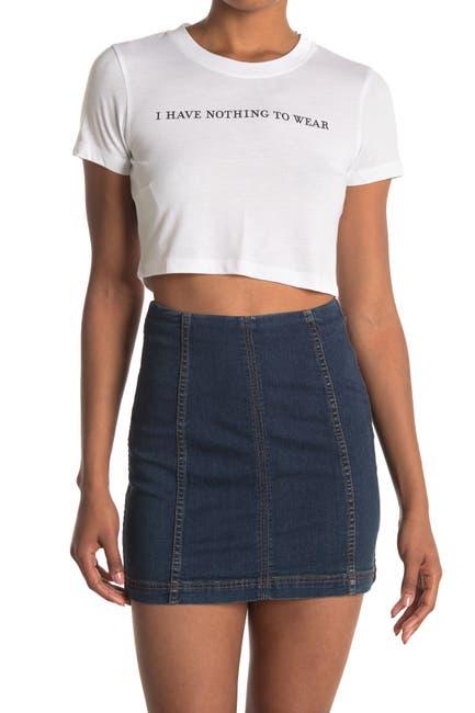 Image of BCBGeneration Short Sleeve Cropped Knit T-Shirt