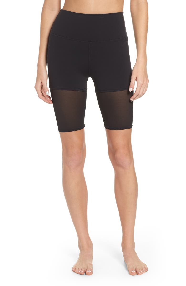 ALO High Waist Shorts, Main, color, BLACK