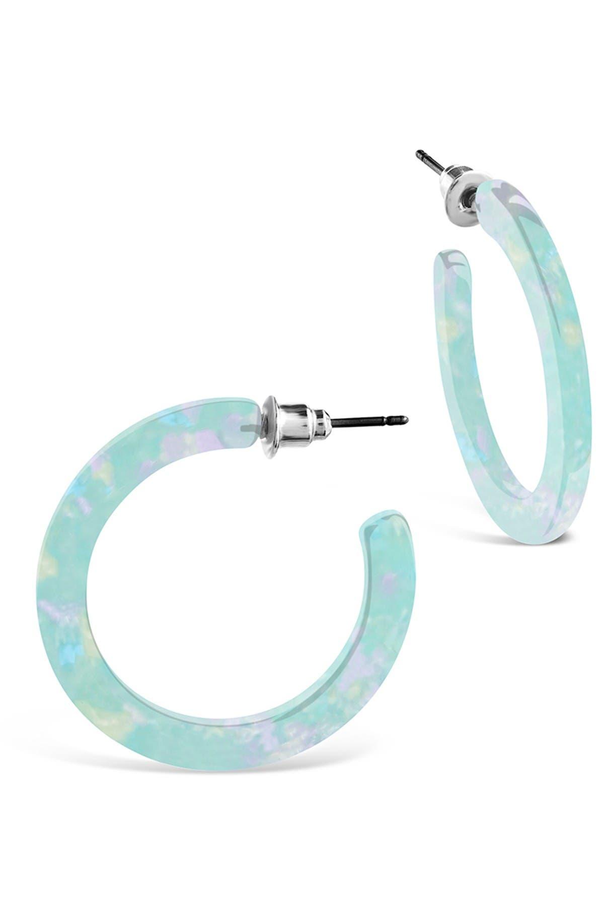 Sterling Forever Mermaid Resin Hoop Earrings