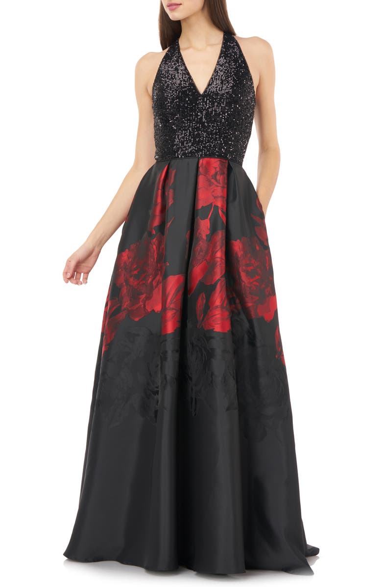 CARMEN MARC VALVO INFUSION Sequin & Floral Ballgown, Main, color, BLACK/ RED