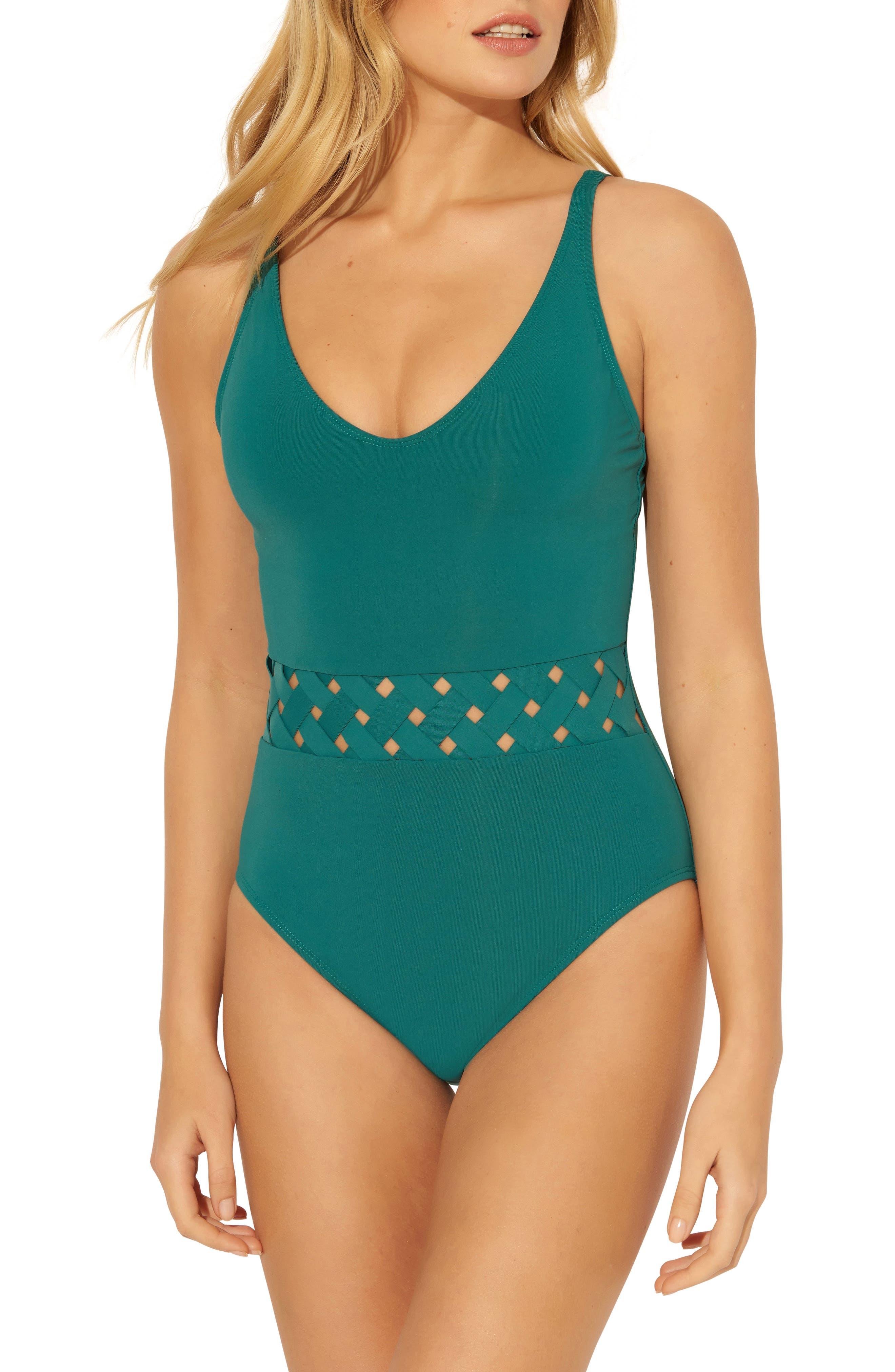 Bleu By Rod Beattie Basket Weave One-Piece Swimsuit, Green