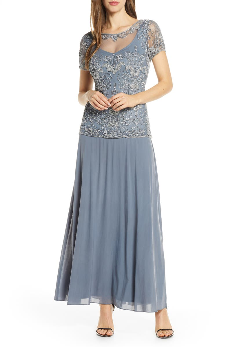 PISARRO NIGHTS Beaded Illusion Neck Chiffon Gown, Main, color, 040