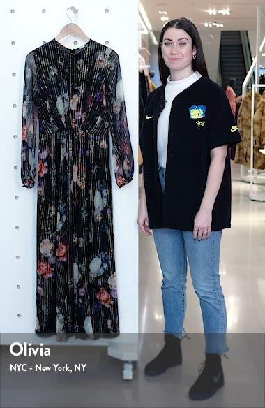 Metallic Floral Long Sleeve Silk Blend Maxi Dress, sales video thumbnail