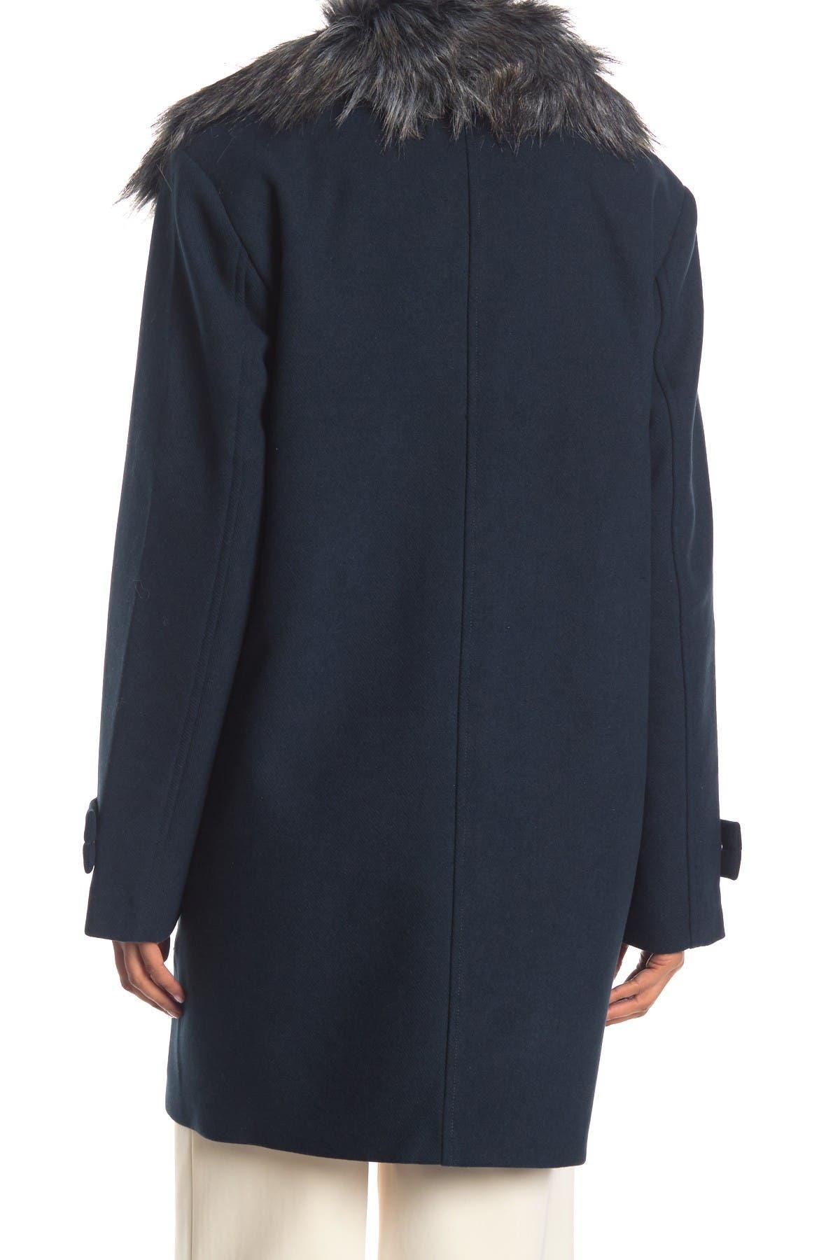 Image of Nine West Faux Fur Trim Asymmetrical Zip Coat