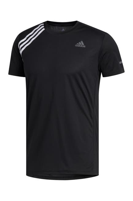 Image of adidas Own the Run 3-Stripes Short Sleeve T-Shirt