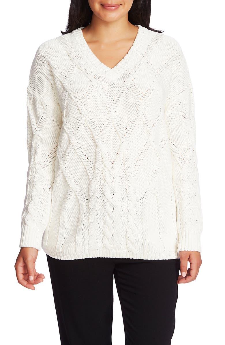 CHAUS Cable V-Neck Cotton Sweater, Main, color, ANTIQ. WHITE