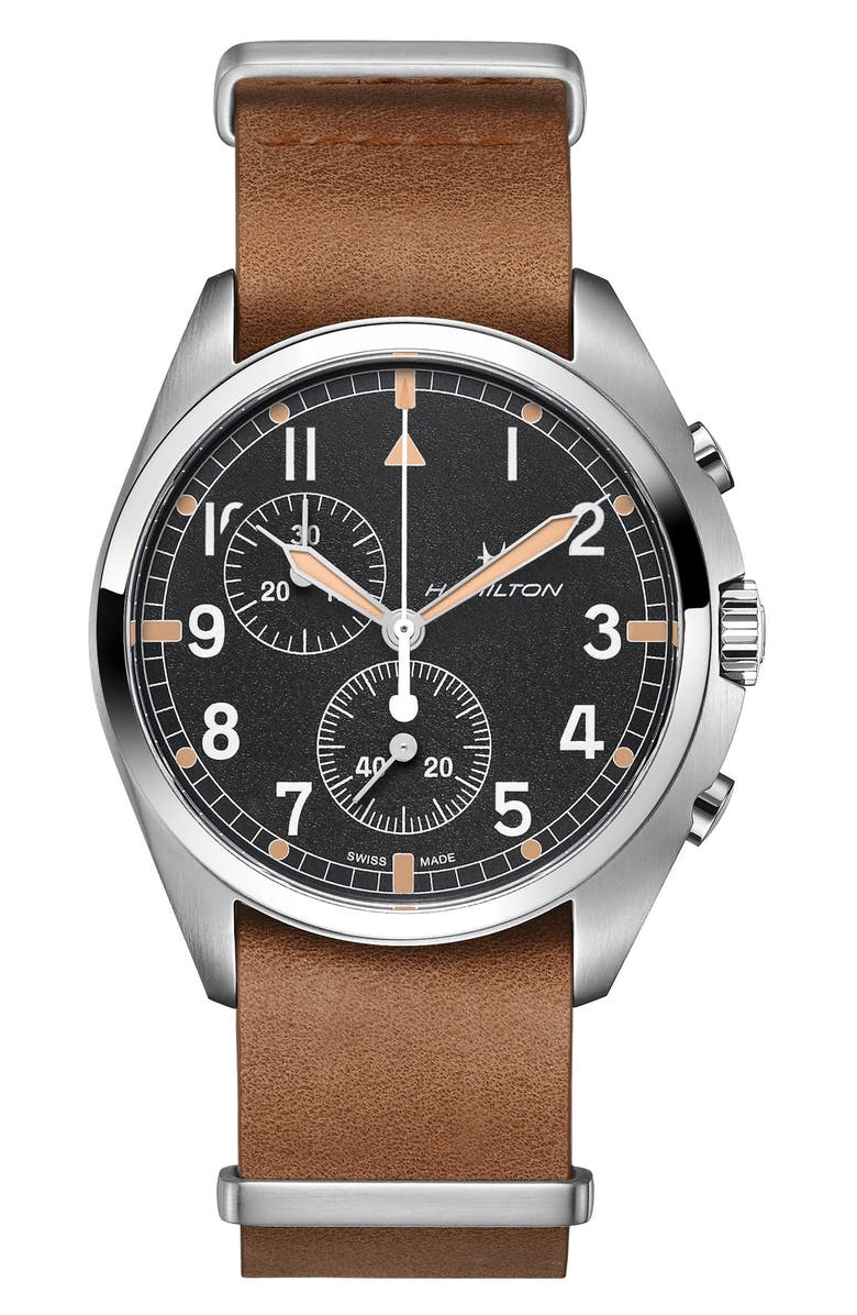 HAMILTON Khaki Aviator Pilot Pioneer Chronograph Leather Strap Watch, 41mm, Main, color, BROWN/ BLACK/ SILVER