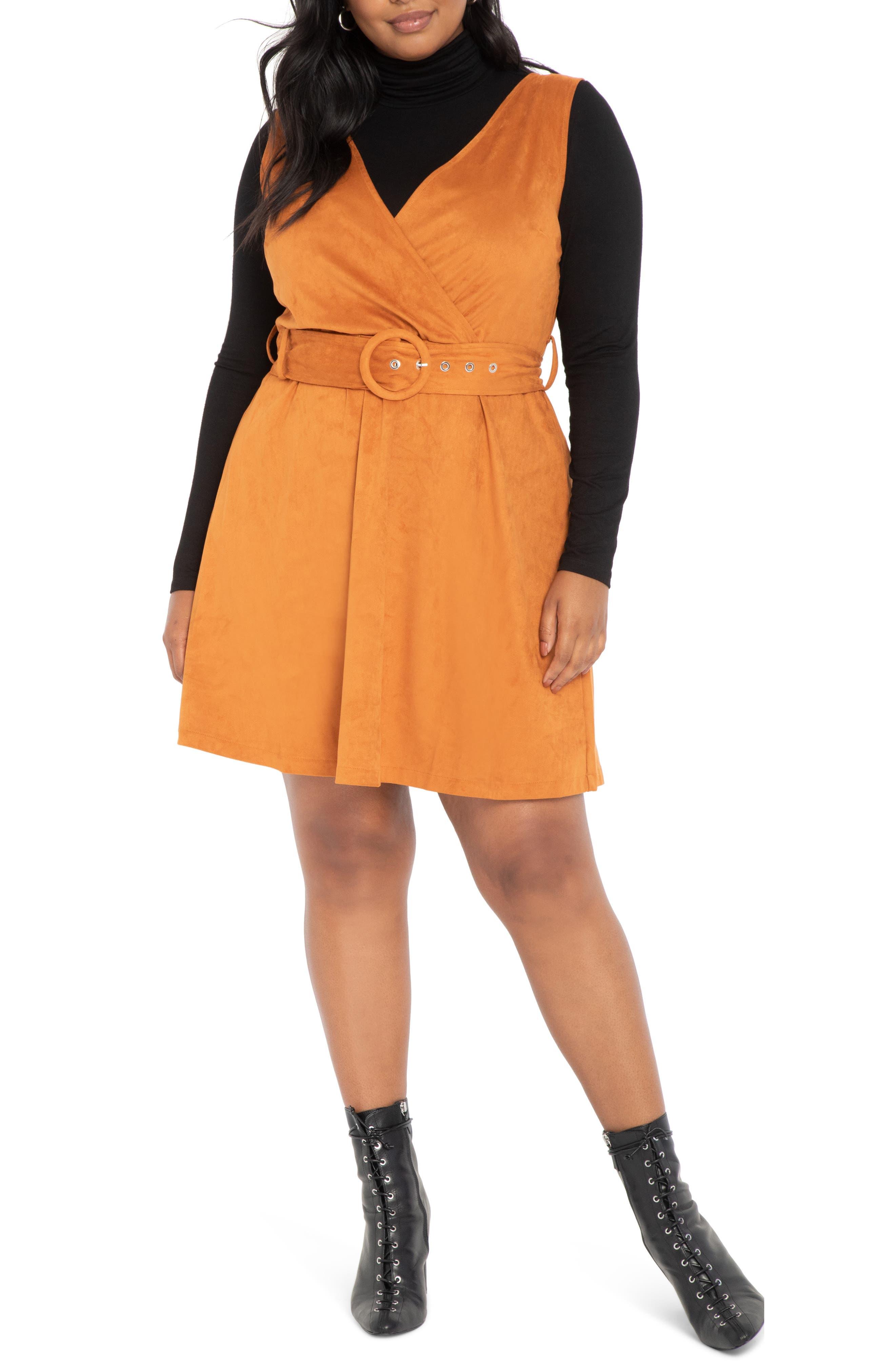 70s Clothes | Hippie Clothes & Outfits Plus Size Womens Eloquii Faux Suede Jumper Dress Size 14W - Brown $89.98 AT vintagedancer.com