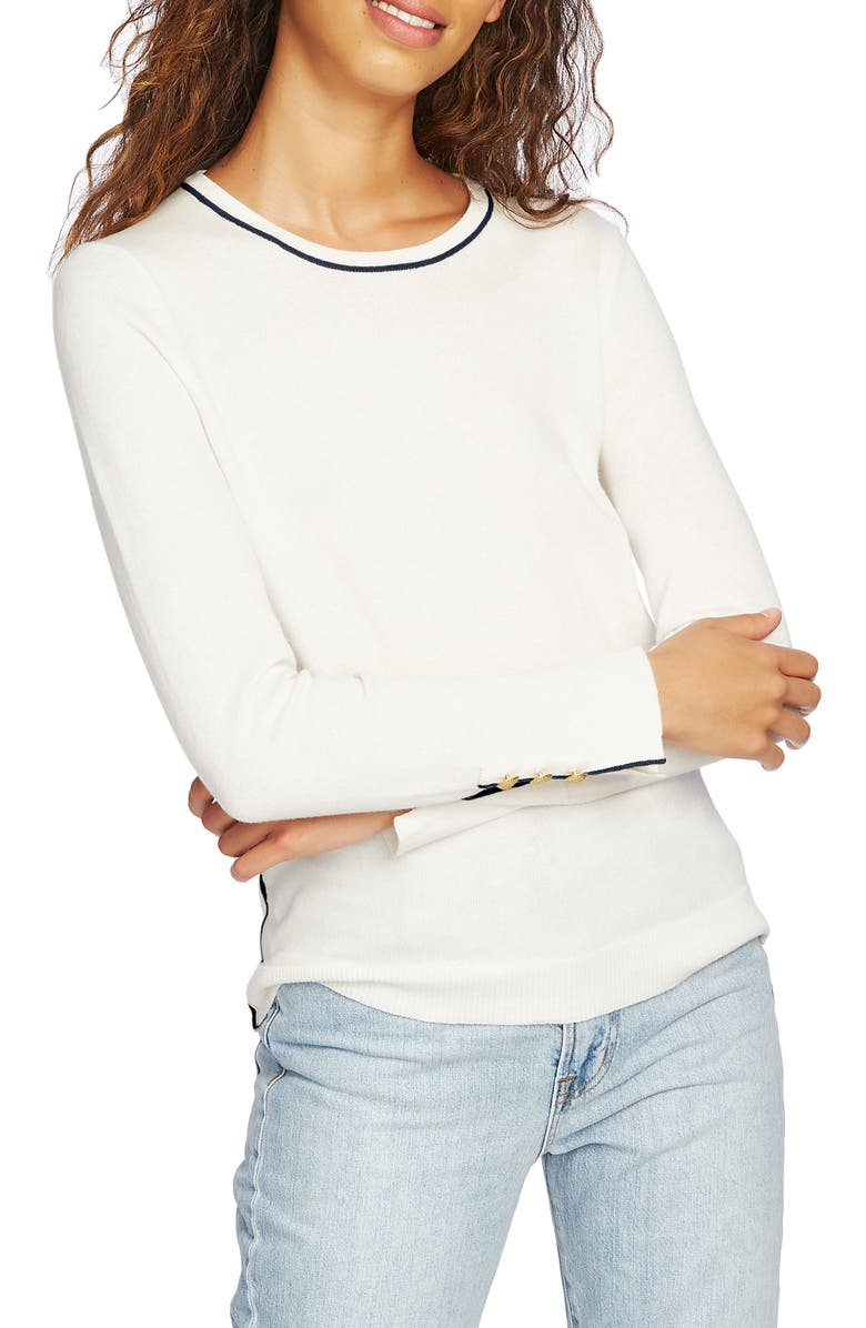 COURT & ROWE Cotton Blend Sweater, Main, color, ANTIQUE WHITE